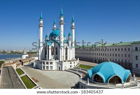 Qol Sharif mosque inside Kremlin fortress in Kazan, capital of republic Tatarstan in Russia. Kremlin of Kazan is UNESCO World Heritage Site. - stock photo