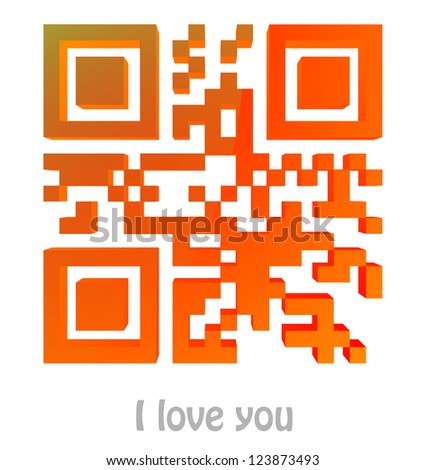 """QR Code of """"I love you"""" - stock photo"""