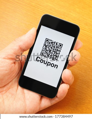 QR code on mobile display - stock photo