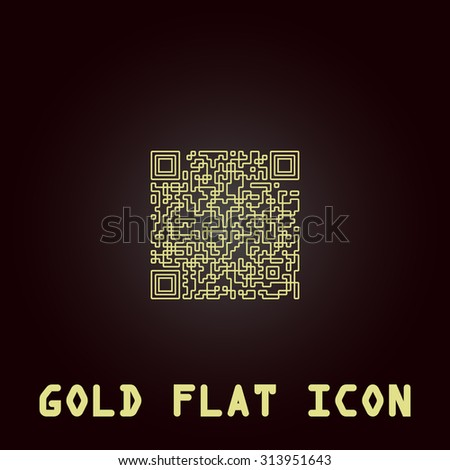 Qr code. Outline gold flat pictogram on dark background with simple text. Illustration trend icon - stock photo