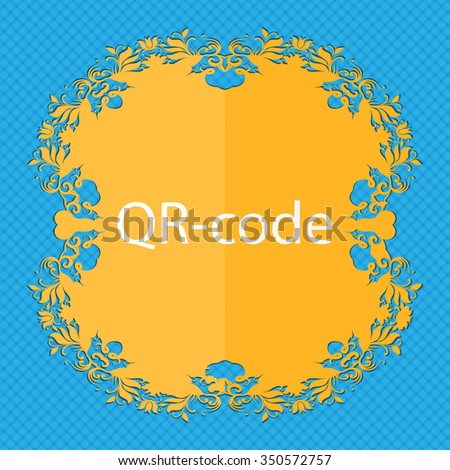 Qr code sign icon. Scan code symbol. Floral flat design on a blue abstract background with place for your text. illustration - stock photo