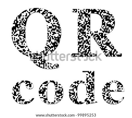 QR code textured inscription - stock photo