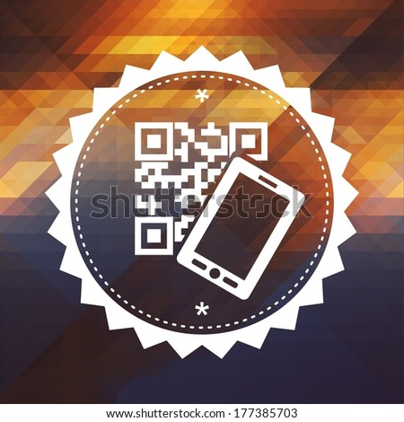 QR Code with Smartphone Icon. Retro label design. Hipster background made of triangles, color flow effect. - stock photo