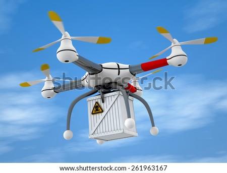 Quadrocopter dangerous goods - stock photo