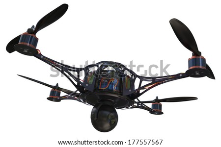 Quadrocopter with camera isolated on white - stock photo