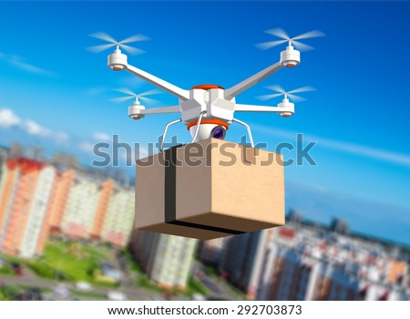 Quadrocopter with cardboard package, 3d illustration - stock photo