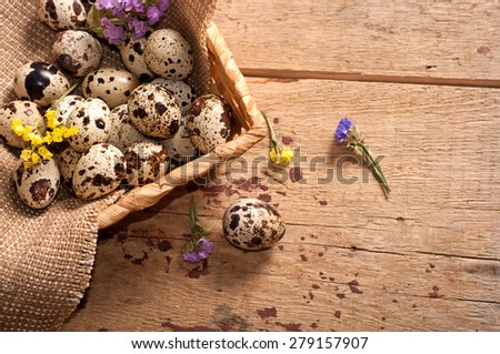 Quail eggs in basket and flowers on table, top view - stock photo