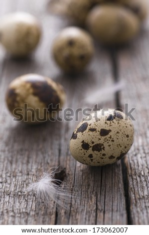 Quail eggs on old wood table - stock photo