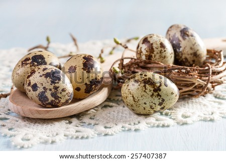 Quail eggs on wooden background closeup. - stock photo