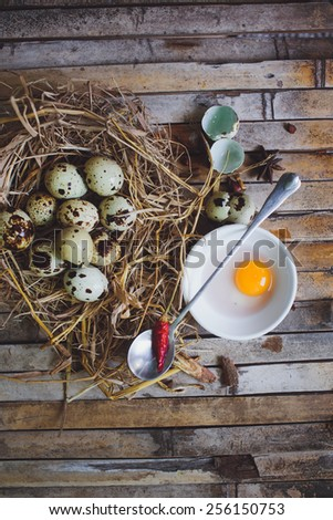 quail spotted eggs in a twig nest spoon, broken egg on a plate on brown background board - stock photo