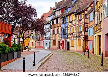 Quaint colorful houses of the Alsatian city of Colmar, France - stock photo