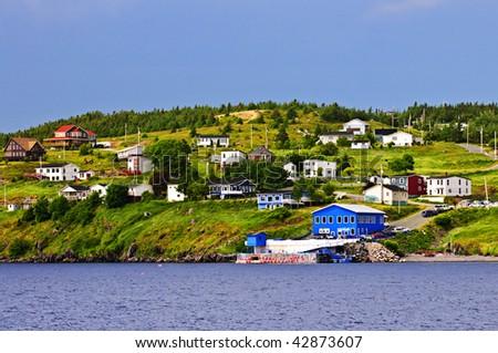 Quaint seaside fishing village in Newfoundland Canada - stock photo