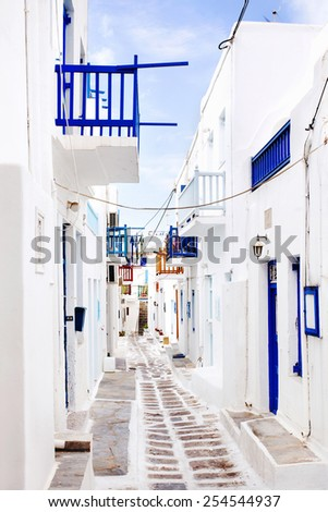 Quaint street in Mykonos, Greece. - stock photo