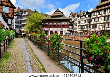 Quaint timbered houses of Petite France, Strasbourg, France - stock photo