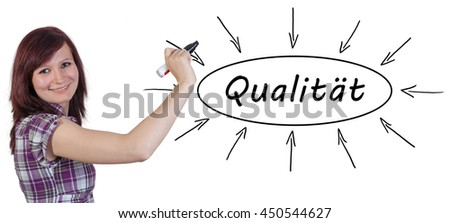 Qualitaet - german word for quality or grade - young businesswoman drawing information concept on whiteboard.  - stock photo