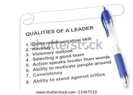 Qualities of a Leader - concept for human resources and management - stock photo