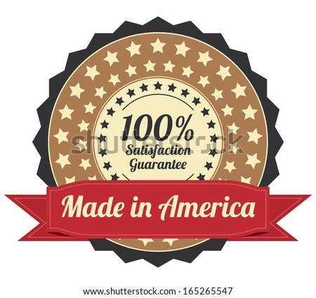 Quality Assurance and Quality Management Concept Present By Brown Vintage Style Icon or Badge With Red Ribbon Made in America 100 Percent Satisfaction Guarantee Isolated on White Background  - stock photo