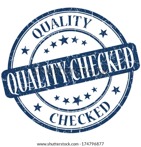 Quality checked grunge blue round stamp - stock photo