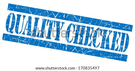 Quality Checked grunge blue stamp - stock photo