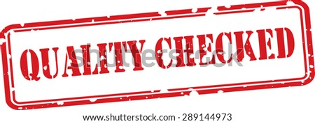 Quality checked red grunge stamp isolated on white background. - stock photo
