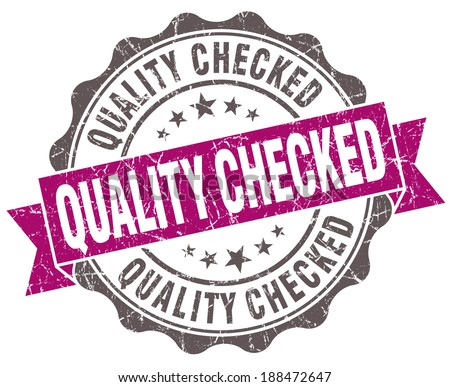 Quality checked violet grunge retro vintage isolated seal - stock photo
