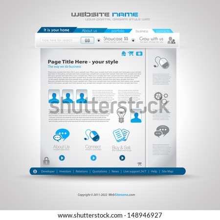 Quality clean web design template for blog and sites. Icons, header, carousel, infographics and a lot of icons. - stock photo