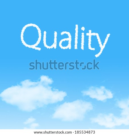 Quality cloud icon with design on blue sky background - stock photo