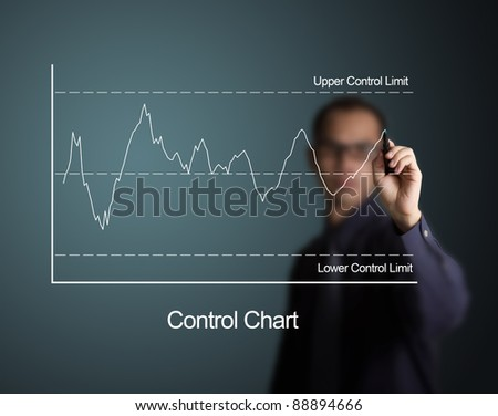 quality control chart , one kind of quality control tool for industry  draw on white board by business man - stock photo