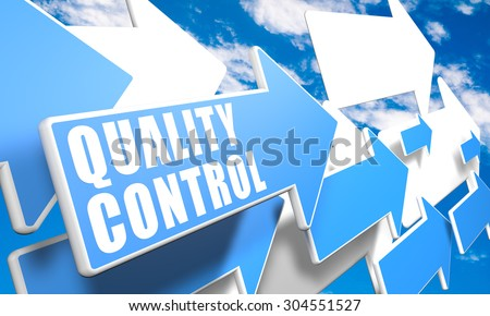 Quality Control - 3d render concept with blue and white arrows flying in a blue sky with clouds - stock photo