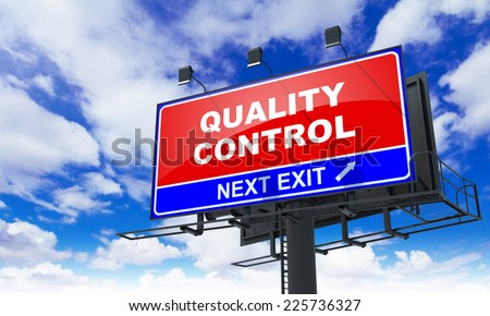 Quality Control - Red Billboard on Sky Background. Business Concept. - stock photo