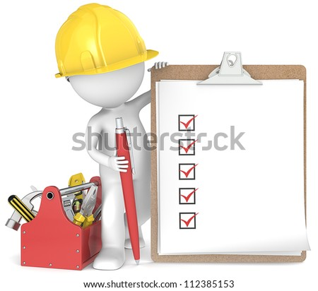 Quality. 3D little human character the Builder holding a clipboard and pen. People series. - stock photo
