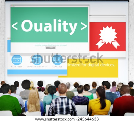Quality Excellence Efficiency Reliable Seminar Conference Learning - stock photo