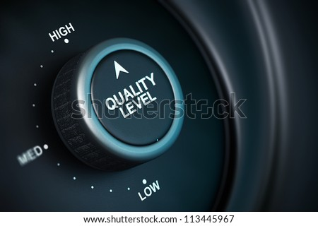 quality level button with low, medium and high positions, button is positioned in the highest position, black and blue background, blur effect - stock photo