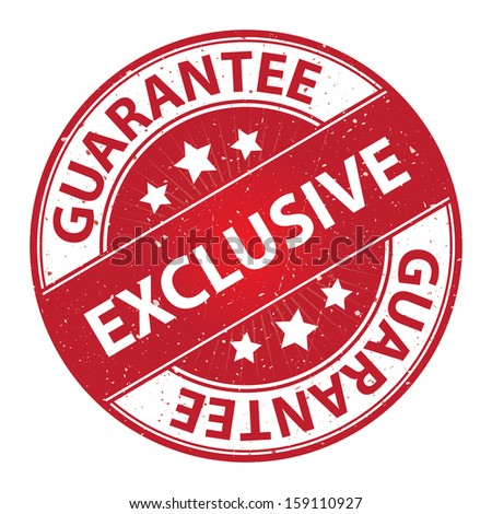 Quality Management Systems, Quality Assurance and Quality Control Concept Present By Exclusive Label on Red Grunge Glossy Style Icon With Guarantee Text Around Isolated on White Background  - stock photo