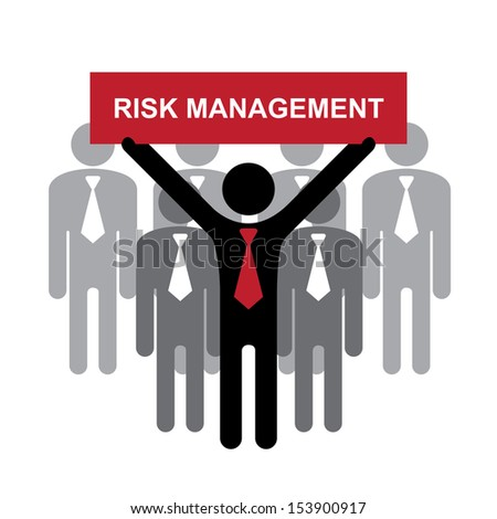 Quality Management Systems, Quality Assurance and Quality Control Concept Present By Group of Businessman With Red Risk Management Sign on Hand Isolated on White Background  - stock photo