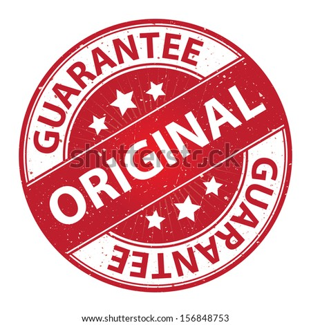 Quality Management Systems, Quality Assurance and Quality Control Concept Present By Original Label on Red Grunge Glossy Style Icon With Guarantee Text Around Isolated on White Background  - stock photo