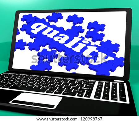 Quality Puzzle On Notebook Shows Website's Excellence And Online Services Warranty - stock photo