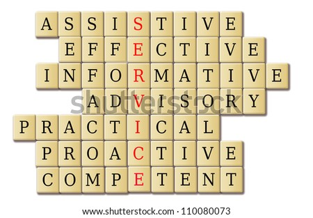 Quality service features in a crossword puzzle concept. - stock photo