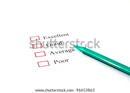 quality survey form with pen showing marketing concept - stock photo
