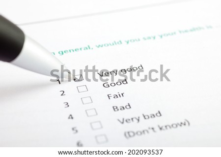 Quality survey with check boxes - stock photo