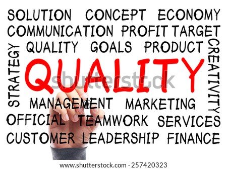 Quality word cloud is written on transparent whiteboard by the hand of a businessman. - stock photo