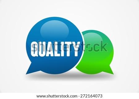 QUALITY word on speech cloud - stock photo
