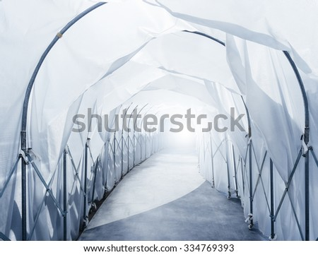 Quarantine Area with retractable Industrial Tunnel walkway - stock photo