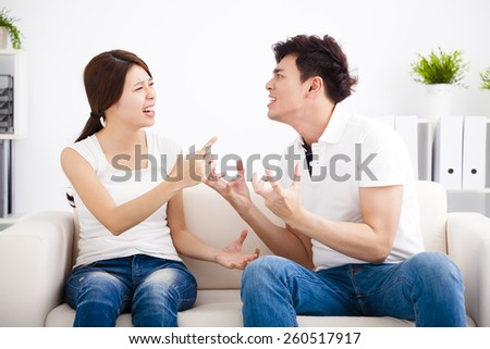Quarrel between girlfriend and  boyfriend - stock photo