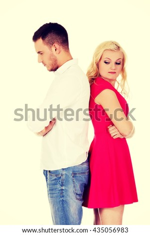 Quarreling couple not talking to each other - stock photo