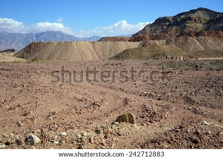 Quarry in Timna park in Negev desert, Israel                                - stock photo