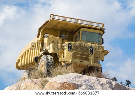 quarrying truck.Truck for the extraction of marble, sand and other construction materials and minerals - stock photo