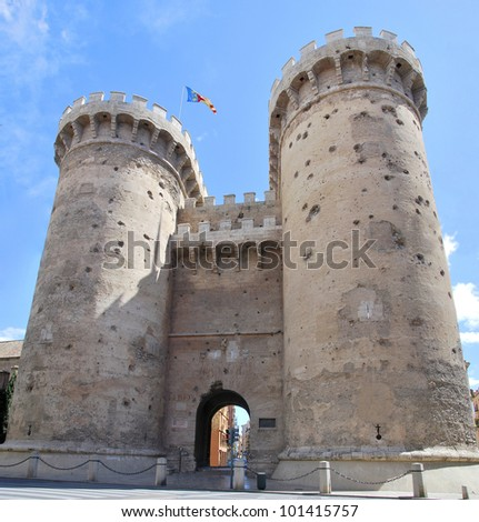 Quart Towers with gunshots of the Independence war in the city of Valencia. Spain - stock photo