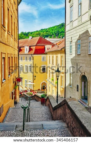 Quarters and streets on  Prague's Mala Strana(Lesser Town of Prague). District of the city of Prague, Czech Republic, and one of its most historic regions. Czech Republic. - stock photo