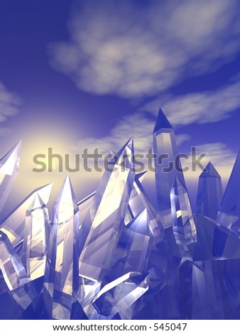 Quartz Crystals against a blue sky - stock photo